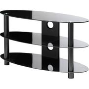 Black polished glass T.V stand to fit up to 42in T.V in perfect condit